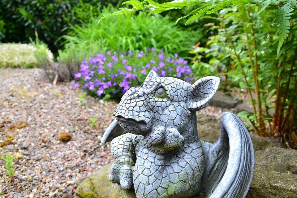 Garden, Garden Figurines, Dragon, Fig, Decoration, Deco
