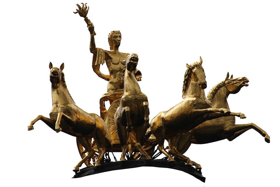 God, Divine, Sonnengott, Fig, Horses, Coach, Antique