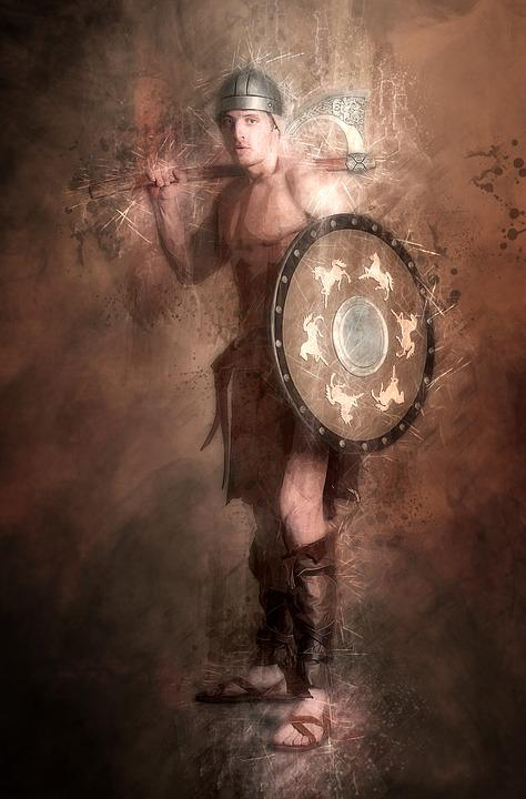 Barbarian, Warrior, Fighter, Man, Male, Shield, Ax