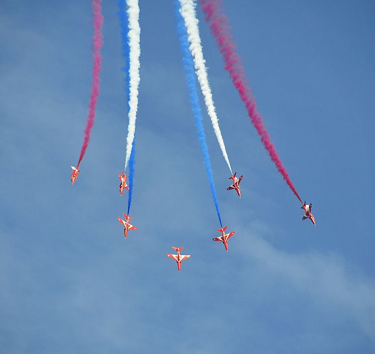 Airshow, Red Arrows, Fighter Jets, Airplane, Plane