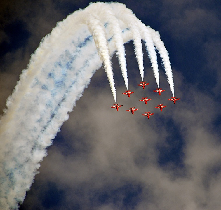 Airshow, Fighter Jets, Formation, Red Arrows, Fighter