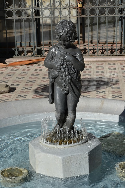 Fountain, Statue, Figure, Boy, Child, Sculpture