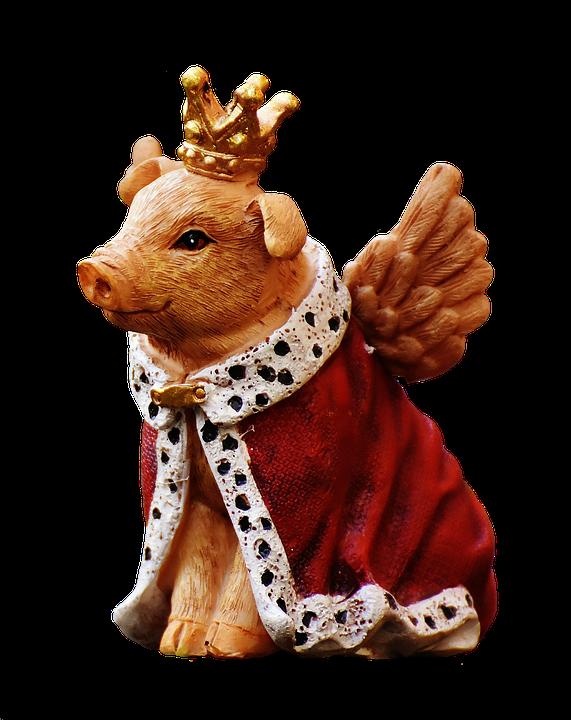 Guardian Angel, Piglet, Figure, Crown, Cropping