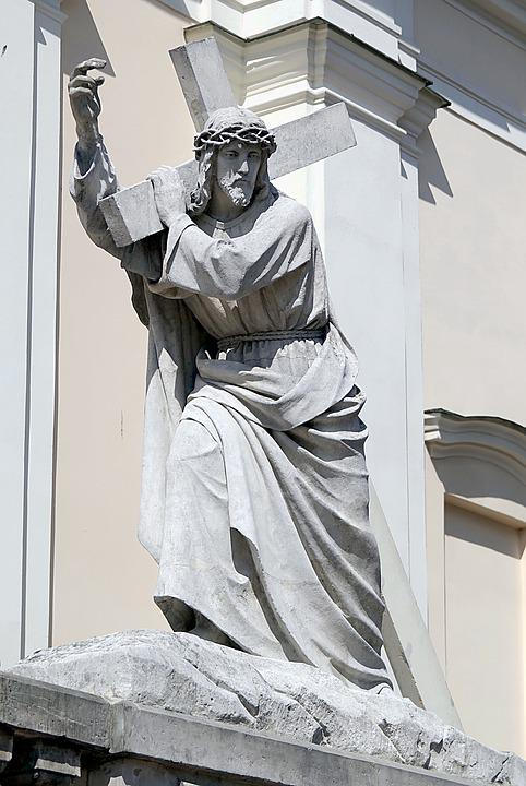 Figure, Christ, Cross, Stone, Large, Church