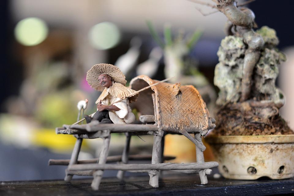 Japanese, Figure, Miniature, Small, Fishing, Decoration