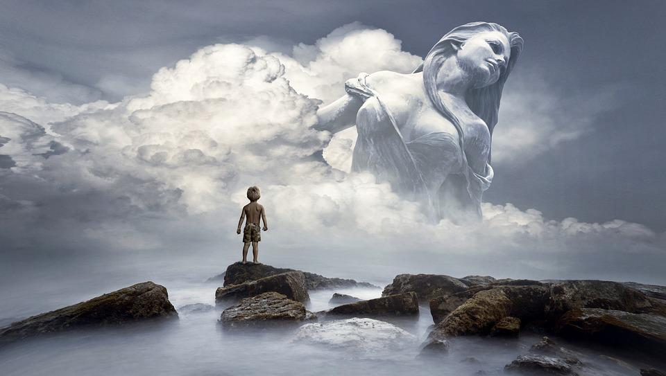 Fantasy, Clouds, Figure, Woman, Child, Light, Surreal