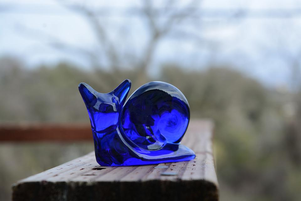 Blue, Glass, Snail, Figure
