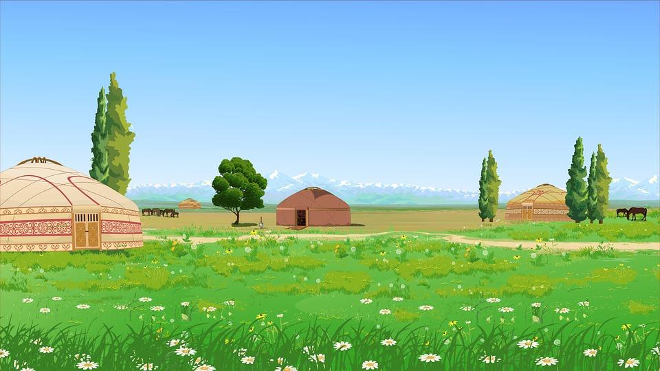 Nature, Figure, Yurt, The Kazakhs