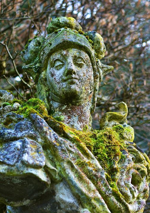 Sculpture, Statue, Figure, Roof, Weathered, Rock Lichen