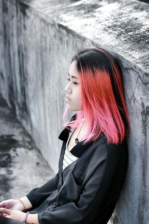 Beautiful, Campus, Figure, Woman, Model, Red Hair, Sad