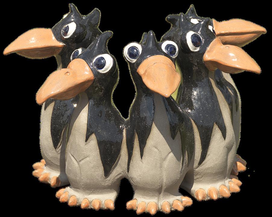Crow, Dig, Group, Ceramic, Figurengruppe
