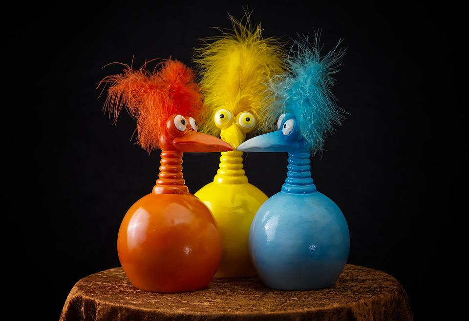 Jokers, Funny, Colorful, Figures, Feather, Birds