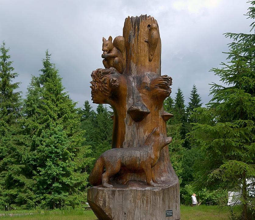 Figures, Log, Wood, Wood Carving, Forest