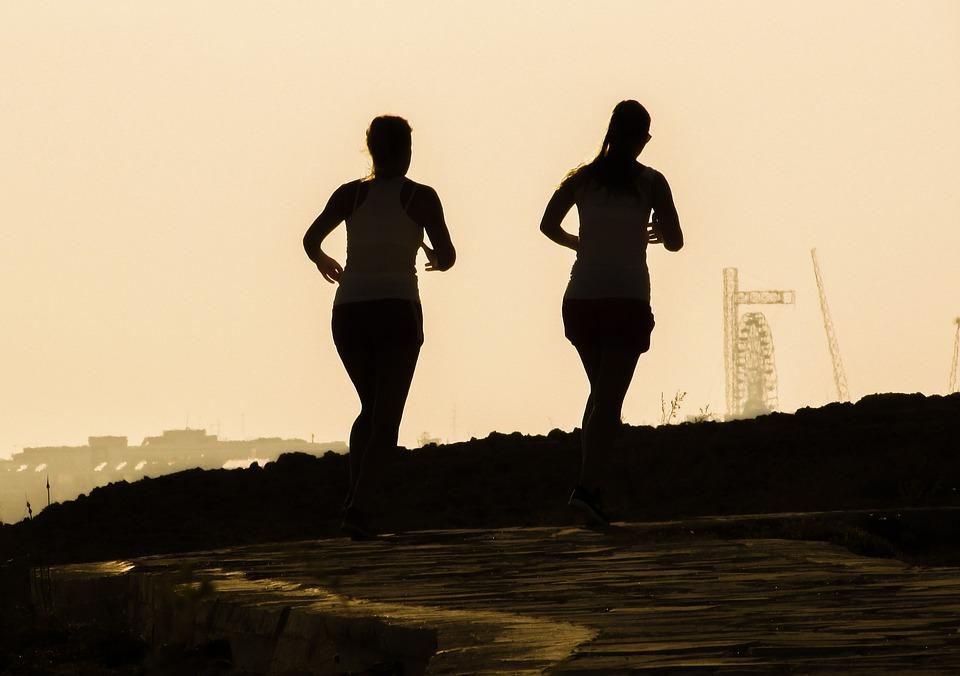 Jogging, Running, Figures, Shadows, Girls, Afternoon