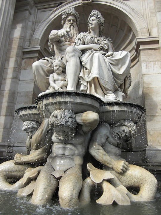 Fountain, Neptune, Vienna, Austria, Figures