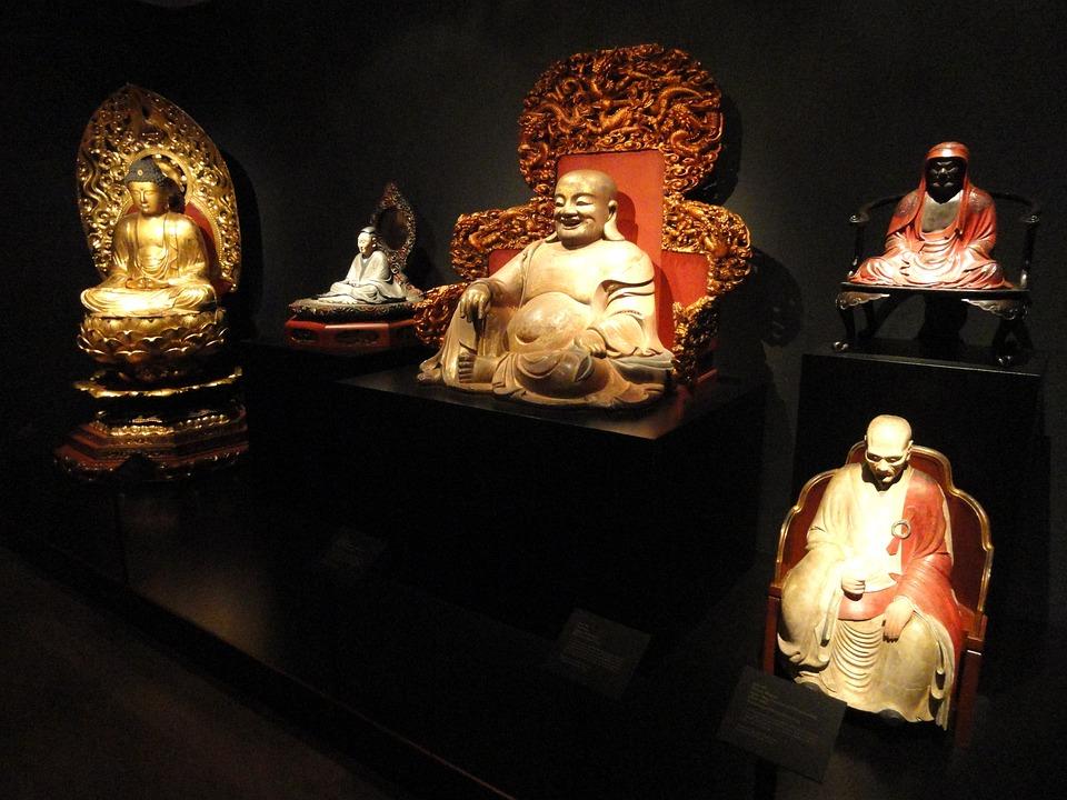 Sculptures, Figures, Asian, Museum, Display, Religion