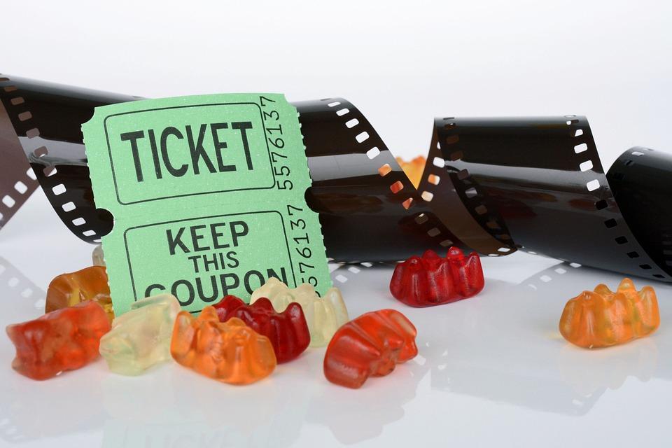 Film Roll, Ticket, Gummibärchen, Film, Cinema