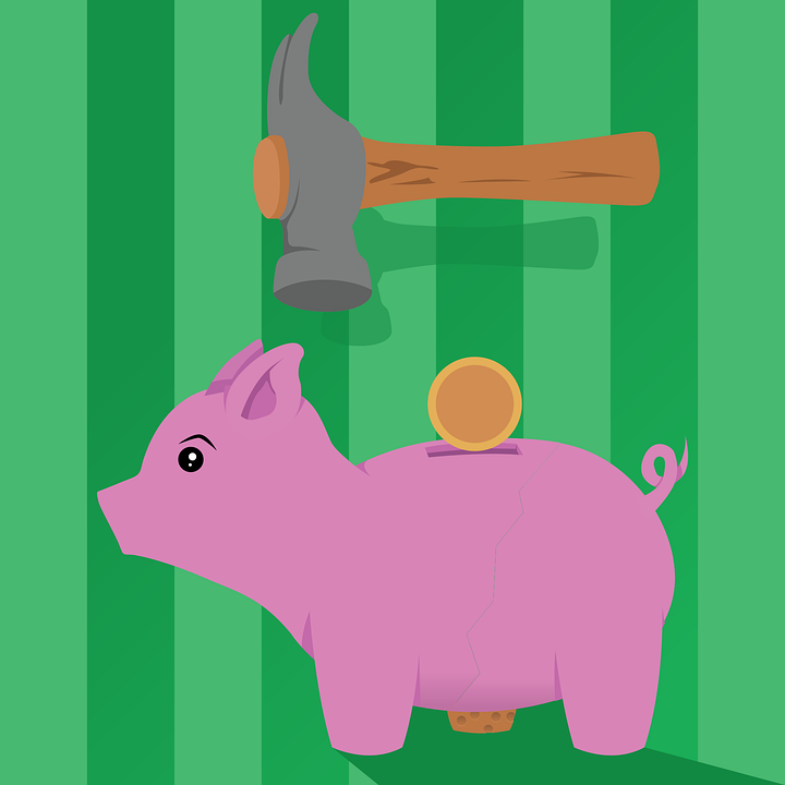 Piggy Bank, Hammer, Coin, Low Budget, Finance, Currency