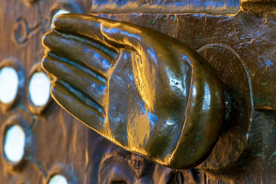 Hand, Metal, Finger, Door Knob, Copper, Gold, Shiny