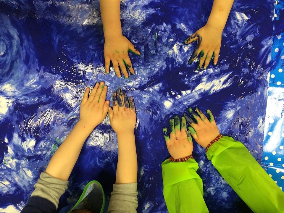 Children, Blue, Child, Color, Finger Paint