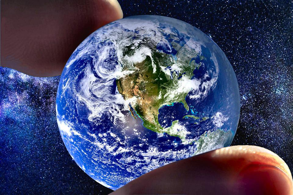 Earth, Space, Stars, Hold, Grab, Fingers, Globe