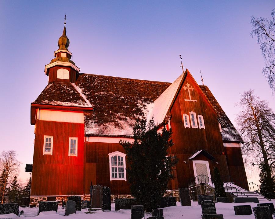 Church, Woodchurch, Cemetery, Snow, Finland