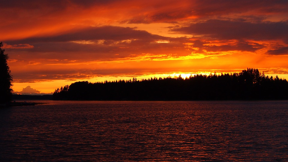 Sunset, Midsummer, Lake, Orange, Finnish, High Summer