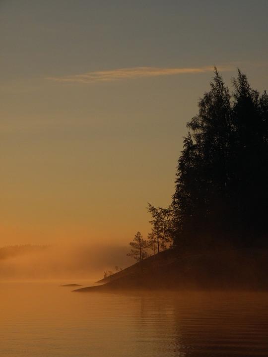Finnish, Saimaa, Savonlinna, Sky, Lake, Sunrise