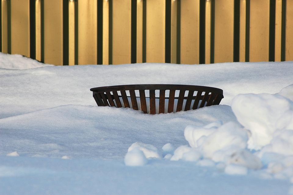 Fire Basket, Fire, Basket, Absorbed, In The Snow