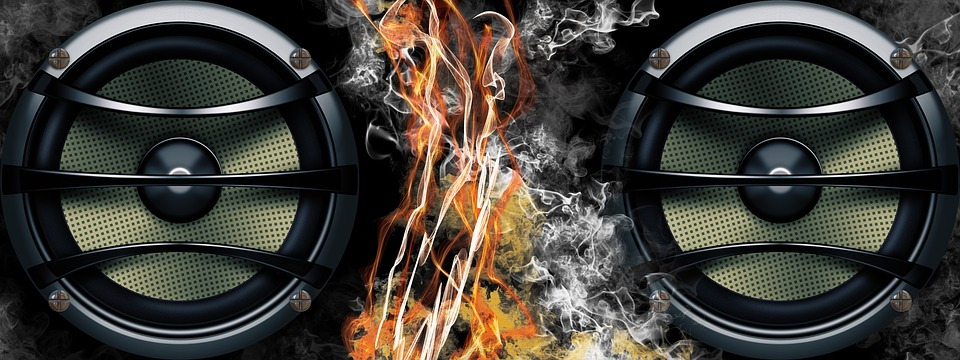 Speakers, Fire, Smoke, Music, Banner, Header, Burn