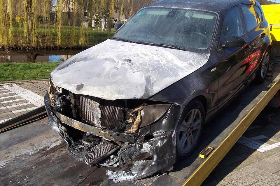 Fire, Car, Bmw, Accident