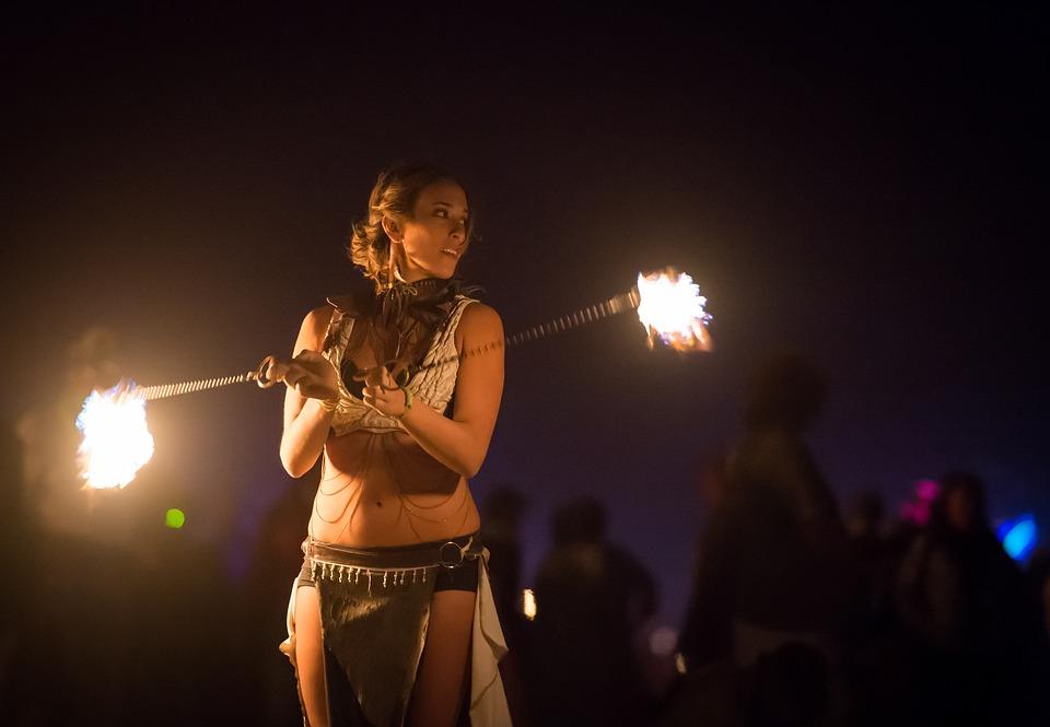 Artists, Fire Dancer, Fire, Artistic, Woman, Dancer