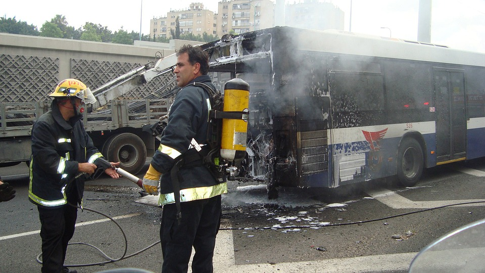 Bus, Accident, Fire, Fire Department, Firefighters