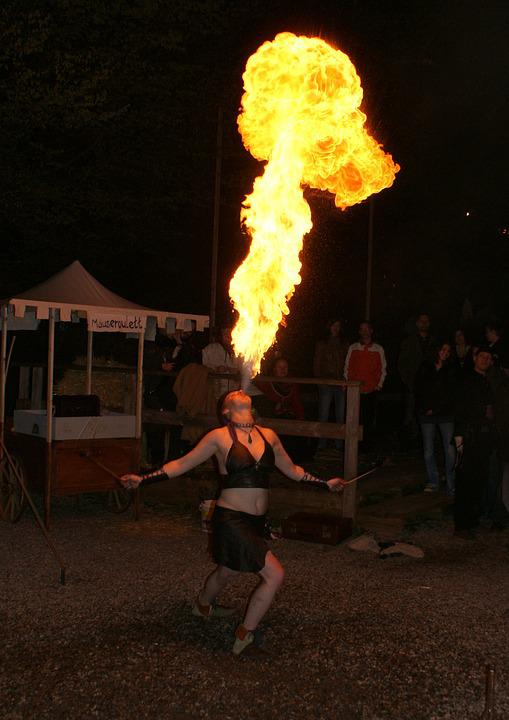 Fire Eaters, Medieval Market, A Fire-eater, Fire