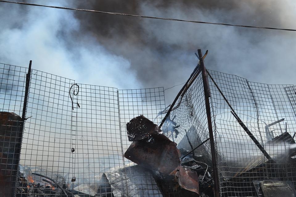 Iraq, Nasiriyah, City Harj, War, Fire, Fence