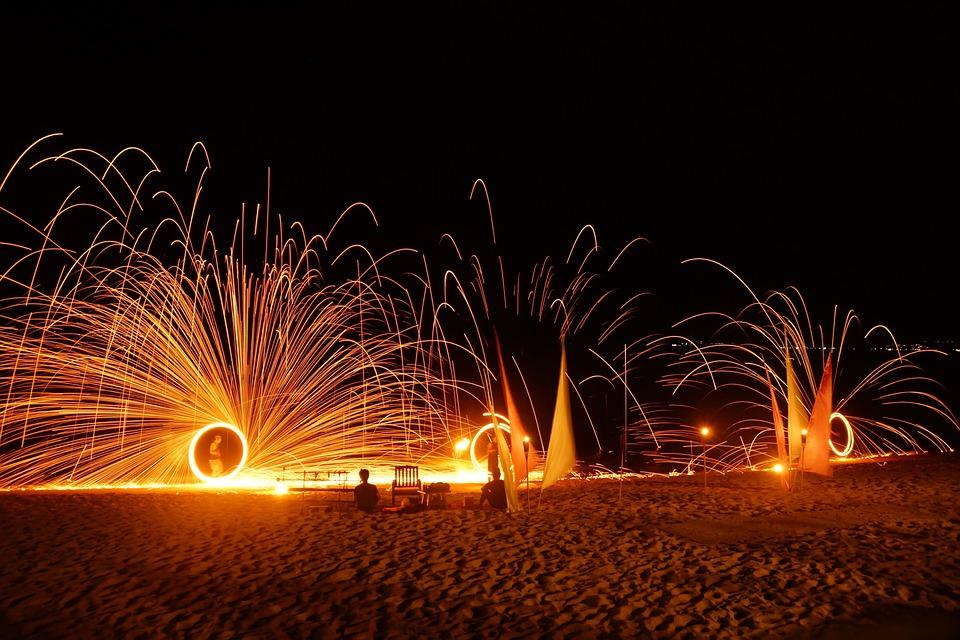 Thailand, Beach, Fire Show, Asia, Holiday, Fire