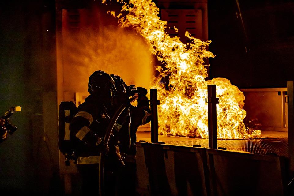Firefighters, Firefighting, Fire, Dark, Night, Tunnel