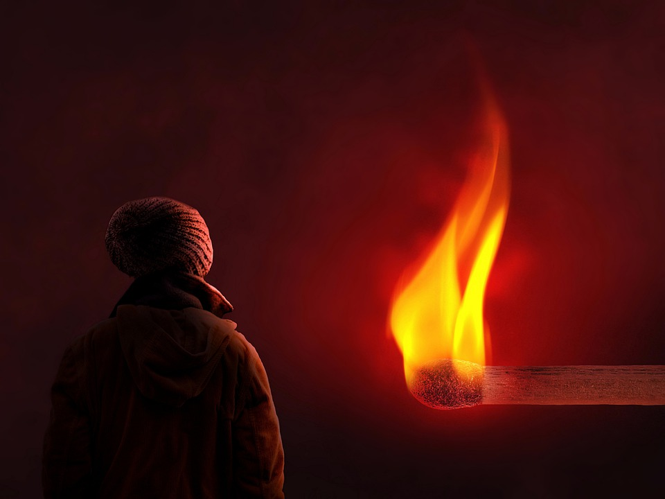 Girl, Fire, Flame, Match, Abstract, Surrealism, Burn