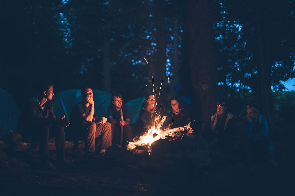 Bonfire, Camping, Fire, Flame, Group, Light, Outdoors