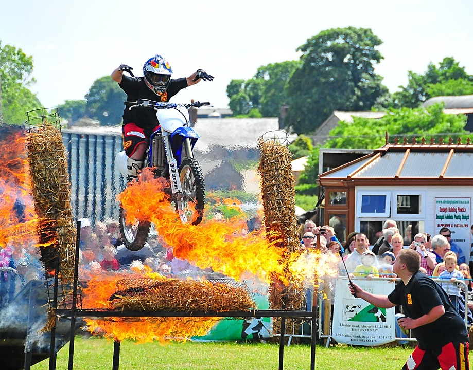 Fire, Motorcycles, Jump, Stunt, Dangerous, Rider