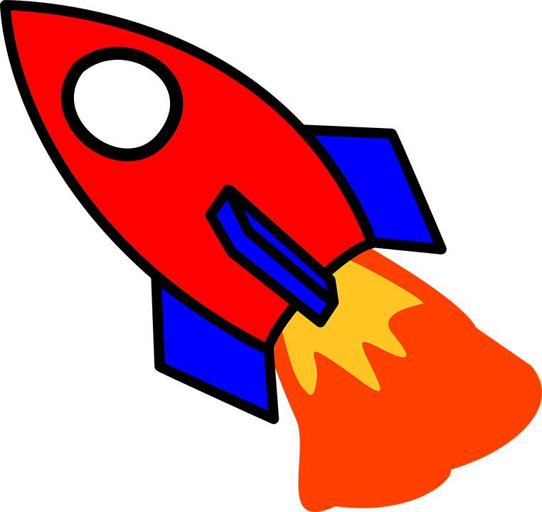 Rocket, Start, Fire, Cartoon, Red, Blue