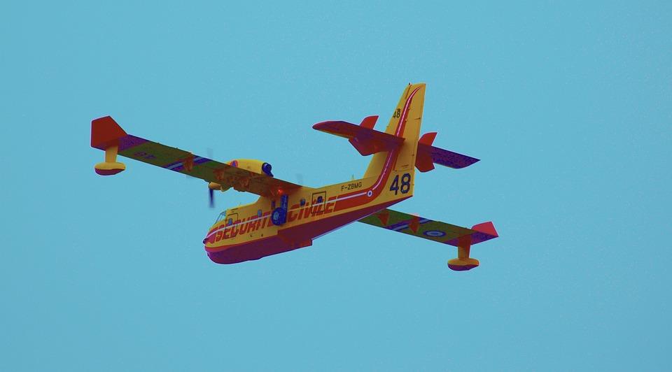 Aircraft, Firefighter, Fire, Canadair, Sky