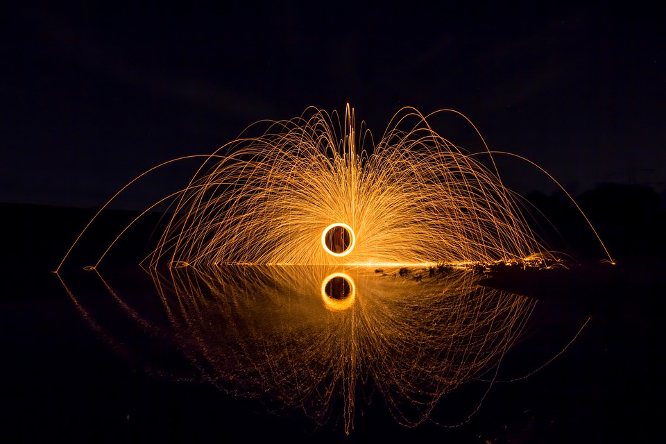 Shower Of Sparks, Light, Steel Wool, Radio, Fire