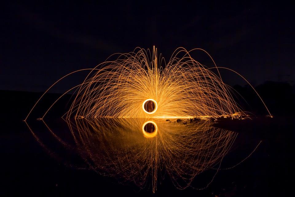 Shower Of Sparks, Light, Steel Wool, Radio, Fire