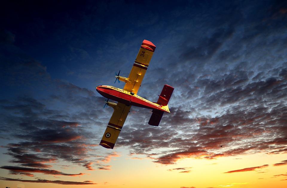Sunset, Aircraft, Fire, Sun, Sky, Flight, Transport