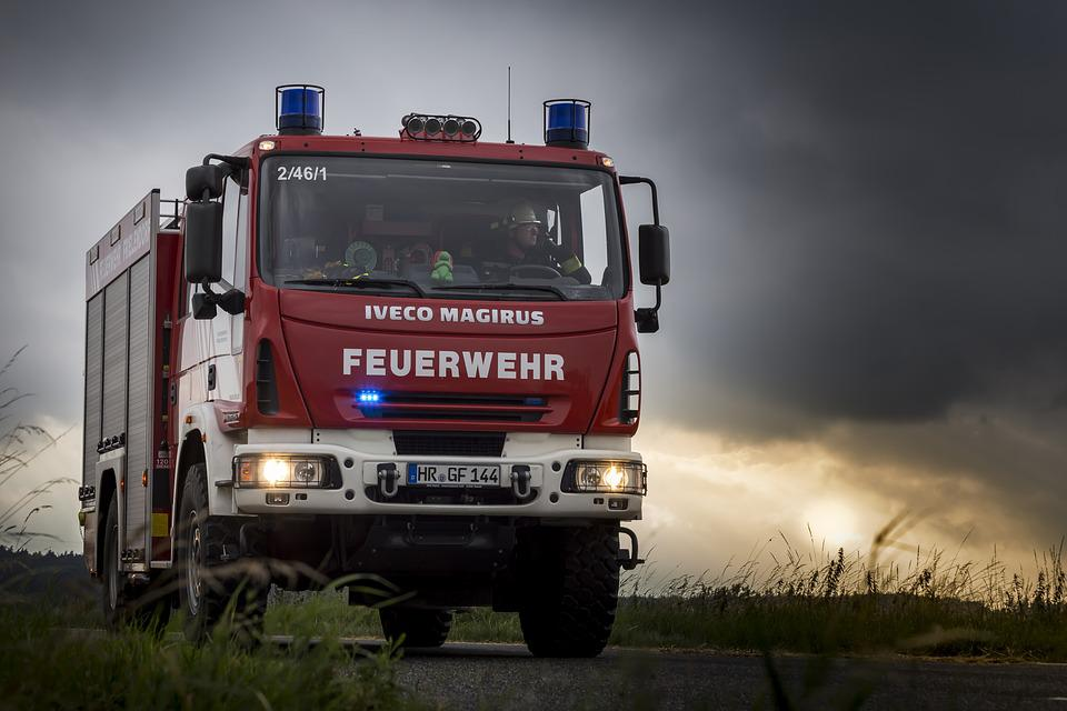Fire Truck, Blue Light, Landscape, Red, Clouds, Sun