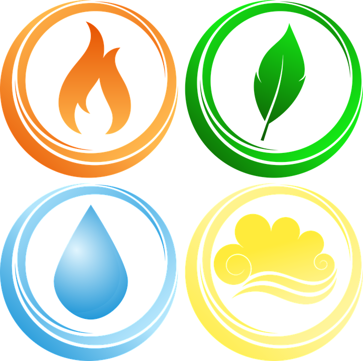 Basic Elements, Earth, Air, Water, Fire, Vector, Symbol