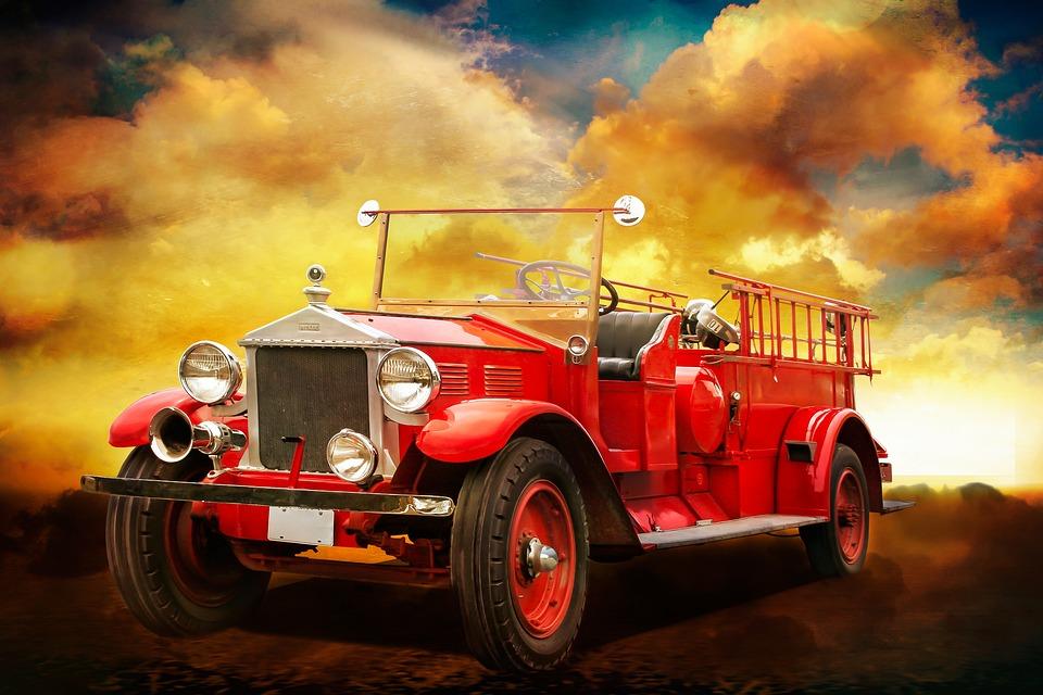 Vehicles, Fire, Fire Truck, Blue Light, Red, Use