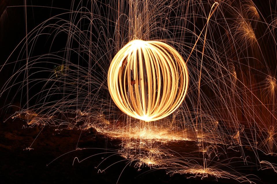 Steel Wool, Firespin, Fireball, Dark, Art, Sparks