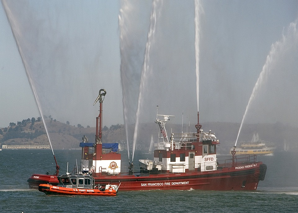 San Francisco, Harbor, Bay, Water, Fireboats, Ships